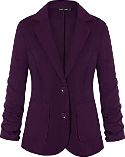 女式 Blazers 褶饰七分袖纽扣缺口翻领办公办公室西装外套西装口袋