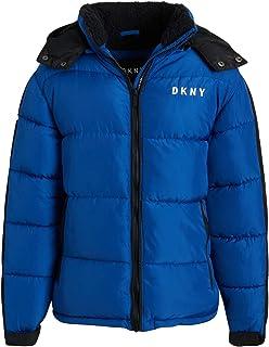 DKNY 男童 加厚摇粒绒内衬羽绒服,带兜帽