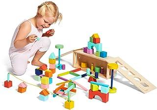 Lovevery 积木套装–实木积木形状+木制储物盒,70件,18种颜色,20多种活动