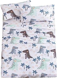 JSD 恐龙儿童印花床单套件单人床尺寸,3 件套图案拉绒超细纤维床单,适合男孩,15 英寸(约 38.1 厘米)深口袋白色
