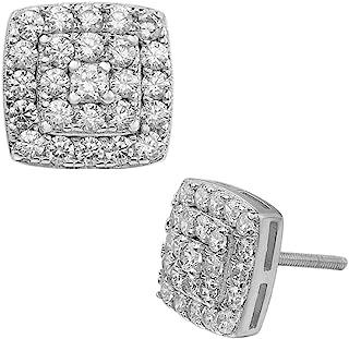 男士女士正品 925 纯银冰块方形钻石嘻哈耳环螺旋式耳钉
