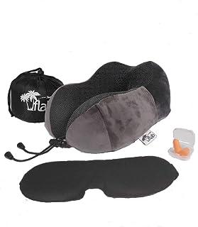 FLAB 旅行颈枕 纯*海绵 360度支撑 透气 可机洗 面罩 优质耳塞 高档便携包 标准 灰色 + 赠品!