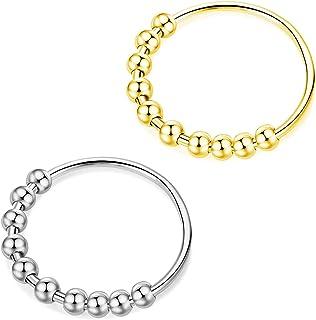 银金色Fidget 戒指套装,缓解*戒指,5 号 6 7 8 9 10 转盘戒指,送给女士男士女孩的礼物