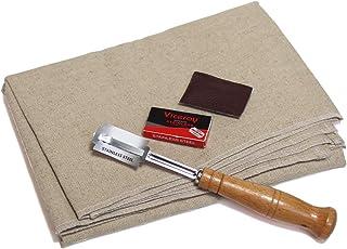 专业面包烘焙师的沙发布,由亚麻和亚麻制成,用于升起长方形面团,带有额外的面包线和替换刀片