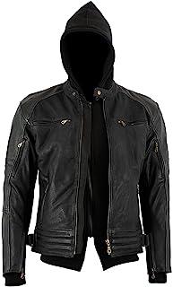Bikers Gear Australia 新款疯狂打蜡牛巴革高级皮革带可拆卸连帽衫摩托车夹克,CE 1621-1 可拆卸 5 件盔甲 UK36 EU46 黑色 LJ1111-S