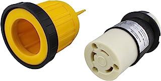ABN L5-30R 连接器带 RV 电源线套和环 - 30 安培扭锁入口锁定插头保护罩,30A 125V