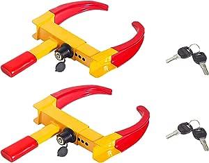 DIWANGUS 车轮夹锁,通用*轮胎锁,可调节防盗锁重型拖车锁车轮夹,适用于汽车卡车 RV 船 拖车 汽车高尔夫球车 SUV (2PCS)