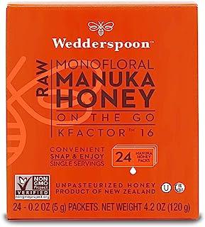 Wedderspoon KFactor 便携式高级麦卢卡蜂蜜,16包,每包约118毫升,未经巴氏杀菌,新西兰蜂蜜,多用途,非基改超级食品。
