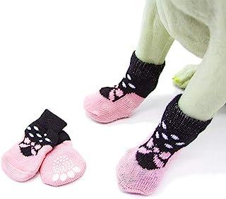 Mummumi 小狗袜,小狗防滑袜舒适鞋靴,橡胶加固,柔软4件套透气袜子设计,适合宠物狗 I XL