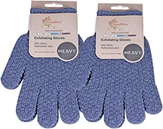 EvridWear 去角质双重纹理沐浴手套适用于淋浴、Spa、按摩和身体磨砂、死皮*去除剂、带悬挂环的手套 2 Pairs Heavy