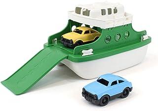 Green Toys 渡轮带微型汽车的浴缸玩具 绿色/白色 10X 6.6 x 6.3英寸 (约25x 16.7x 16cm)