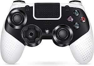 PS4 无线控制器,CIPON 遥控器,带可调涡轮,适用于 Playstation 4/Pro / 超薄黑白色