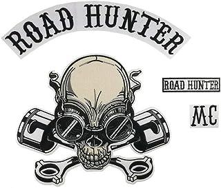 Road Hunter 骷髅头活塞大号刺绣摩托车熨烫补丁套装