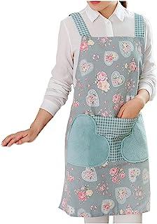 女士女孩可爱围裙可爱心形花卉擦拭手工烹饪厨房花园蕾丝防油罩衣口袋