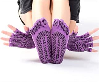 女式袜子和手套套装 防滑健身和瑜伽配件 适用于普拉提 纯巴 芭蕾舞 舞蹈 赤脚锻炼 (手套 + 袜子,紫色)