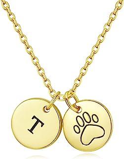 GORSKOY 首字母爪印项链,A-Z 小狗猫宠物爪印项链,14K 镀金女式