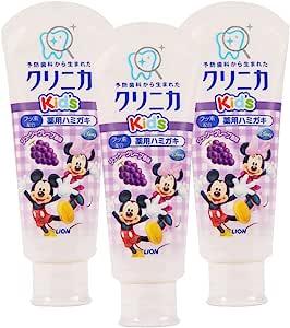LION 日本狮王 迪士尼儿童牙膏 葡萄味 60g *3支 (日本品牌 香港直邮)