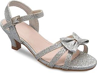 Olivia K 女孩闪亮人造革露趾绑带踝带小跟凉鞋(幼儿/小女孩)