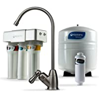Aquasana OptimH2O 反渗透净水器 在水槽水过滤系统下进行渗透-过滤95%的氟化物-厨房柜台水龙头过滤-拉…