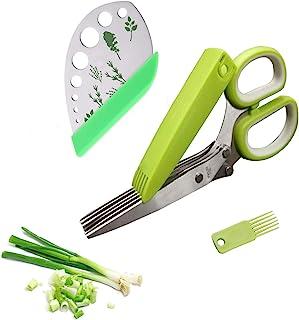 Herb Scissors 香草剥离器套装,多功能不锈钢 5 刀片厨房剪刀,带*罩和*清洁梳 - 厨房小工具4 合 1