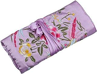 Wei Long@Jewelry 卷,旅行首饰卷袋,丝绸刺绣锦缎首饰收纳盒带闭合,波点 Golden Flower-purple Standard-size Jewelry Roll-GoldFlower-Purple