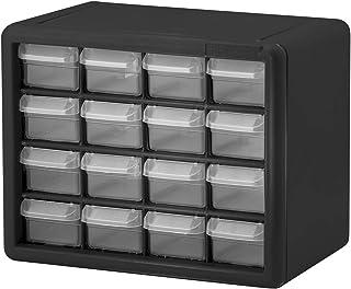Akro-Mils 16 抽屉 10116,塑料零件存储硬件和工艺柜,(10-1/2 英寸宽 x 8-1/2 英寸深 x 6-1/2 英寸高),黑色(1 件装)
