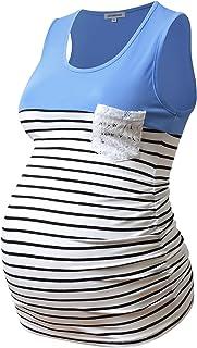 GINKANA 无袖孕妇背心拼色无袖 T 恤,带钩针口袋,适合孕妇