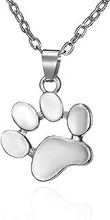 狗猫宠物项链女士女孩动物爪印宠物项圈项链宠物珠宝脚印配件生日礼物圣诞礼物给她的银色