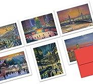 冬季世界 - 36 张便签卡 - 空白卡 - 包括红色信封