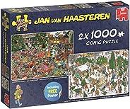 Jumbo 19080 圣诞礼物主题拼图 2 x 1000,多色