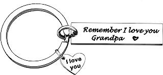 YONGHUI 不锈钢男士钥匙链钥匙圈 适合爷爷生日圣诞节父亲节 礼物 Remember I Love You 银色