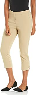 Rafaella 女式纯色轻质曲线修身缎面斜纹卡普里裤