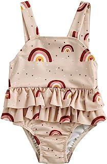 女婴泳装连体肩带荷叶边彩虹印花比基尼坦基尼泳衣泳装