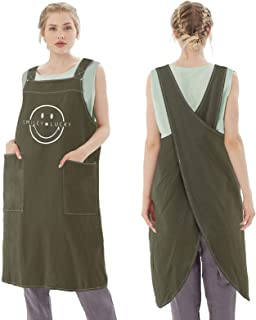 女式围裙带口袋, 棉麻围裙交叉背烹饪围裙 适合女士和男士 S-XXXL