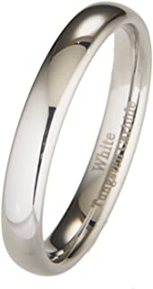4MM White Tungsten Carbide Polished Classic Wedding Ring