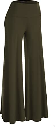 Made By Johnny Women's Casual Comfy Wide Leg Palazzo Lounge Pants (XS~5XL)