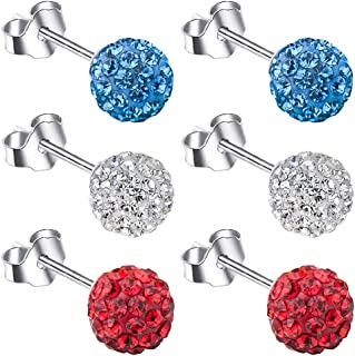 Xihuimay 3 对迪斯科密镶耳环 925 纯银耳环 6 毫米圆形耳钉套装 球形耳钉 透明水晶珠耳环 适合青少年耳环 女士女孩 蓝色 红色 白色