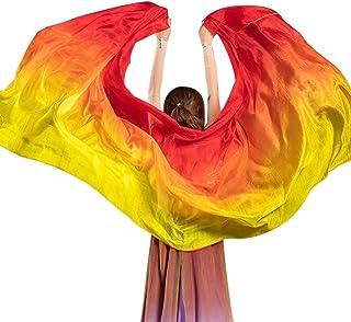 COMBINE 女式 * 丝绸肚皮舞面纱和手巾渐变色奢华肚皮舞丝绸披肩双头纱围巾