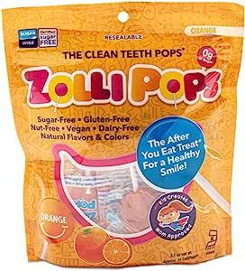 Zollipops 清洁牙齿棒棒糖| 木糖醇抗蛀牙,无糖糖果,带给您健康的笑容-非常适合儿童,和生酮饮食者(橙子,3.1盎司/约87.88克)