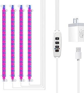 LED 生长灯条,PGYARD 40W 生长灯,适用于室内植物,带红色蓝色光谱,3/9/12H 自动开/关定时器,192 个 LED,10 个可调光级别,园艺种子温室植物灯,4 件装