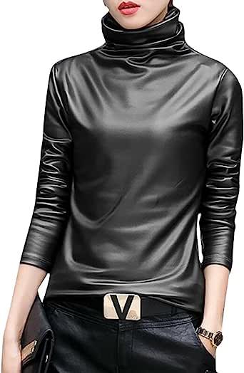 SELX-女式人造革高领上衣长袖上衣 T 恤