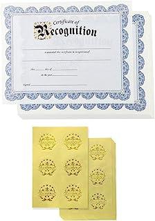 鉴定证书和金箔印章贴纸(蓝色,21.59 x 27.94 厘米,48 件装)