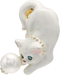 VENDOME BOUTIQUE 【amazon.co.jp先行销售】猫咪 珍珠 胸针 VBRV9516 W2