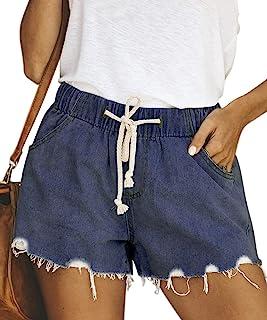 Pofash 女式牛仔纸袋腰针织散步短裤牛仔裤带腰带口袋