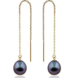 Splendid Pearls 14K 黄金穿线器水滴珍珠耳环 7.5-8mm AA 质量纯淡水养殖