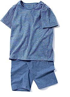 ACESTAR 幼儿女孩男孩夏季睡衣套装,棉质短袖条纹 2 件套儿童睡衣(3-9 岁)