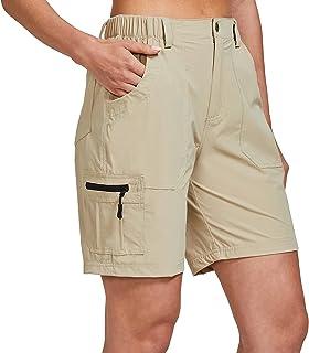 ChinFun 女式弹力工装短裤,轻质徒步短裤,速干旅行高尔夫短裤,防水 6 个口袋