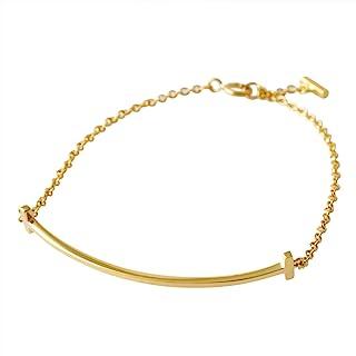 [蒂芙尼] TIFFANY 18KYG 黄金 Tiffany T 微笑 手链 中 16cm 36667257