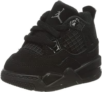 Nike 耐克 男童 Jordan 4 复古 (td) 篮球鞋,Black/Black-Lt Graphite, 27 EU