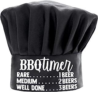 男士厨师帽搞笑黑色,烧烤计时器烹饪帽子可调节厨房厨师帽烧烤礼物生日父亲节圣诞节礼物